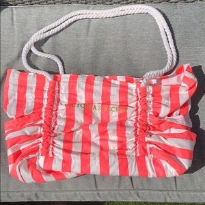 Victoria's Secret coral & white striped beach bag